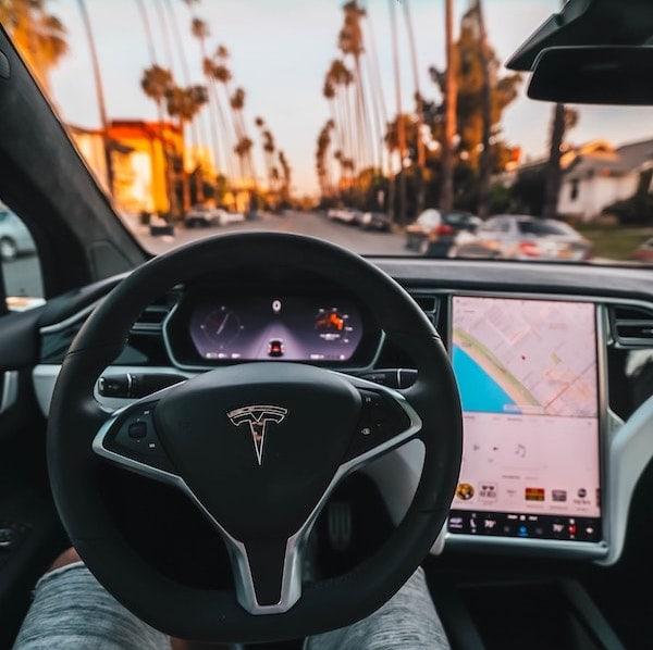 tesla driving interior